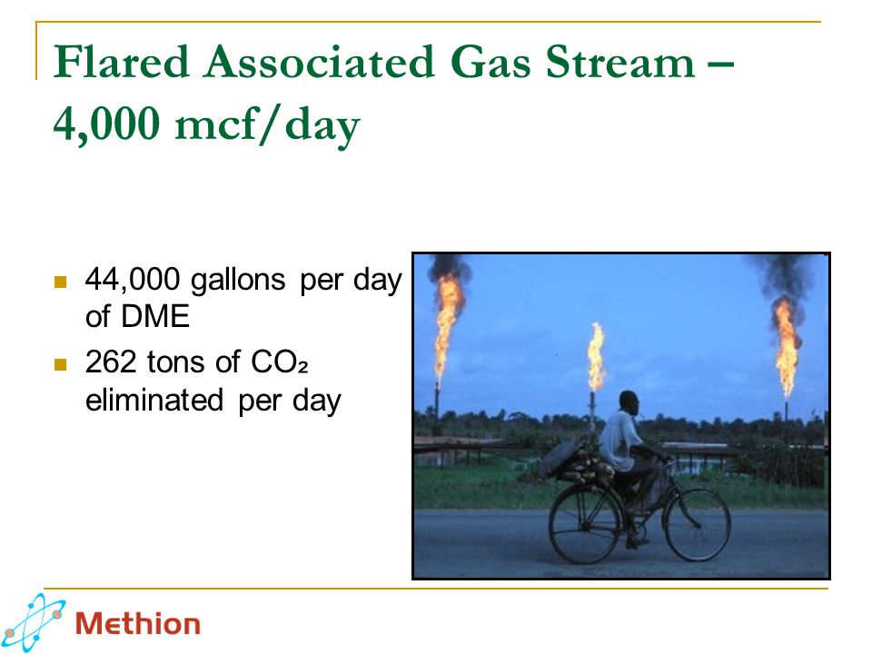 Flared Associated Gas Stream – 4,000 mcf/day