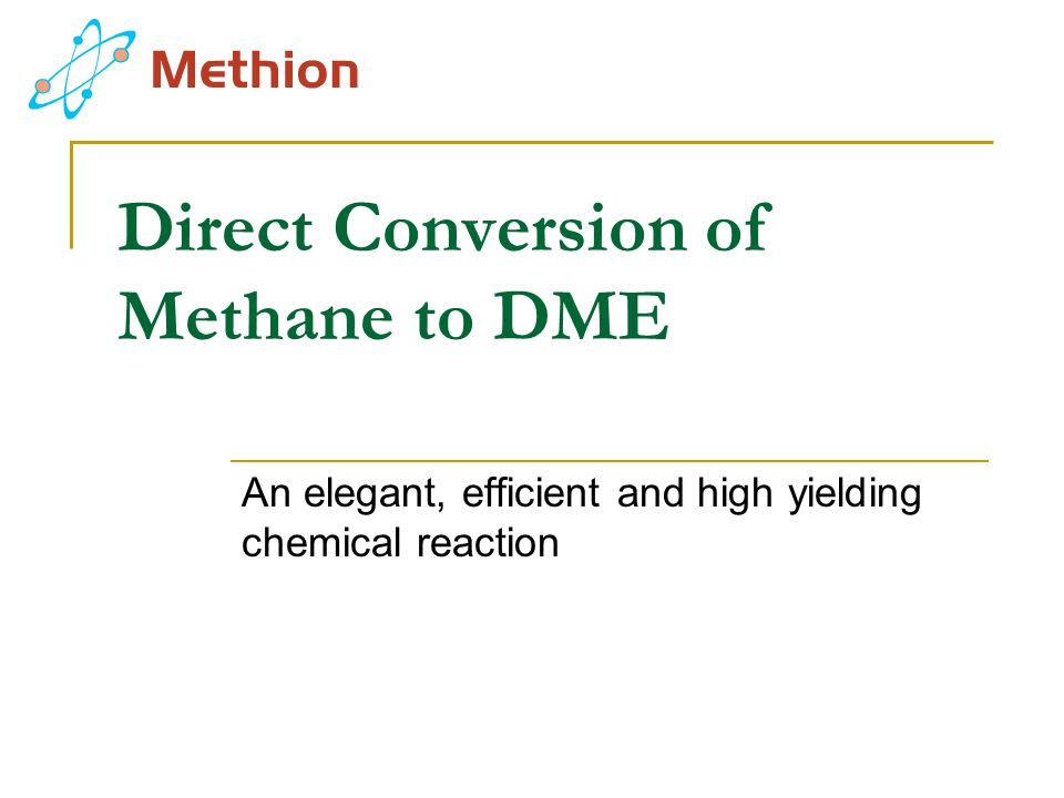 Direct Conversion of Methane to DME