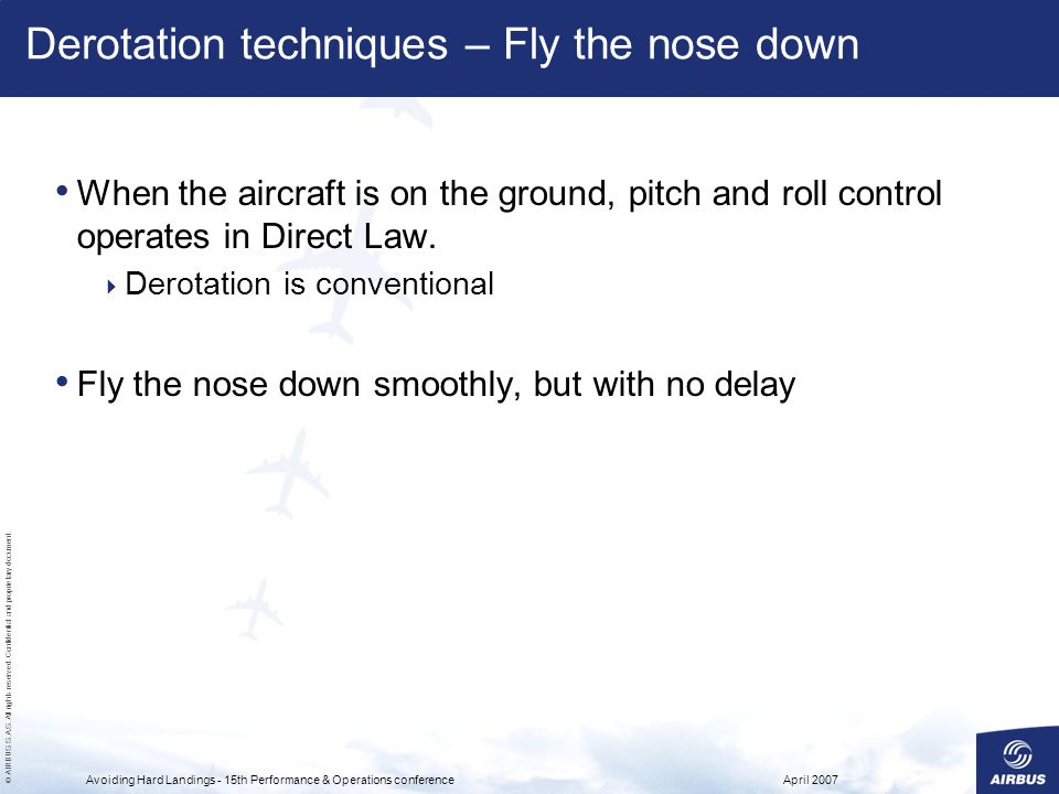 Derotation techniques – Fly the nose down