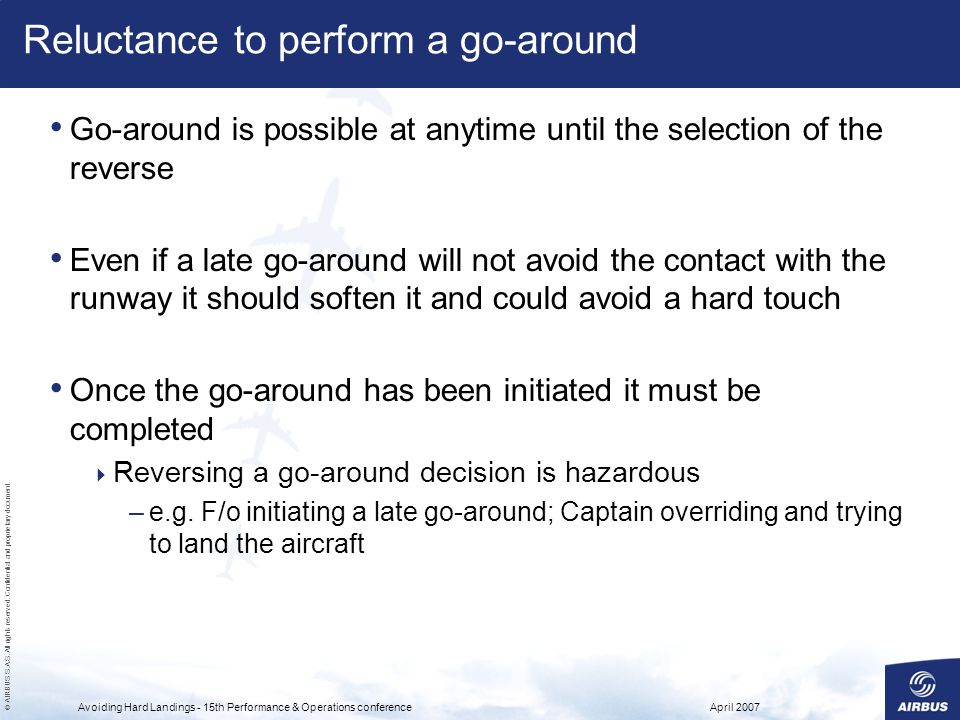 Reluctance to perform a go-around