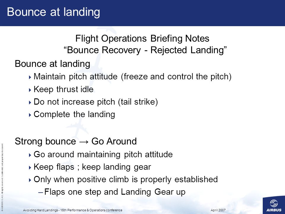 Flight Operations Briefing Notes Bounce Recovery - Rejected Landing