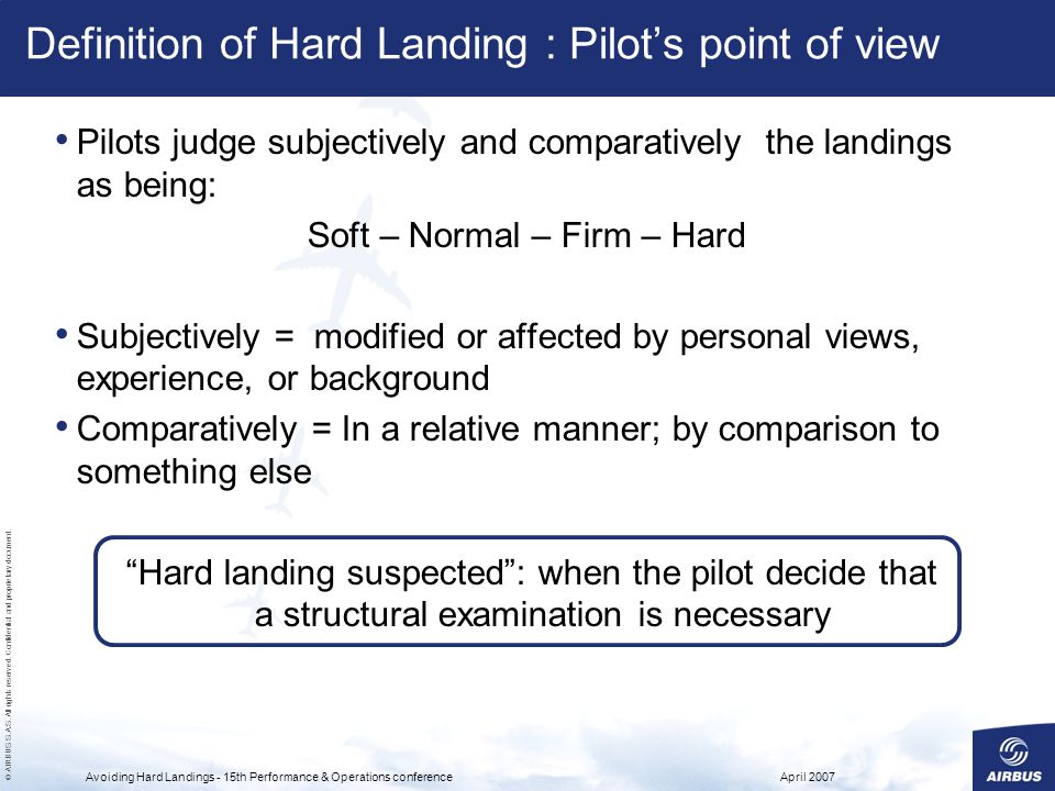 Definition of Hard Landing : Pilot's point of view