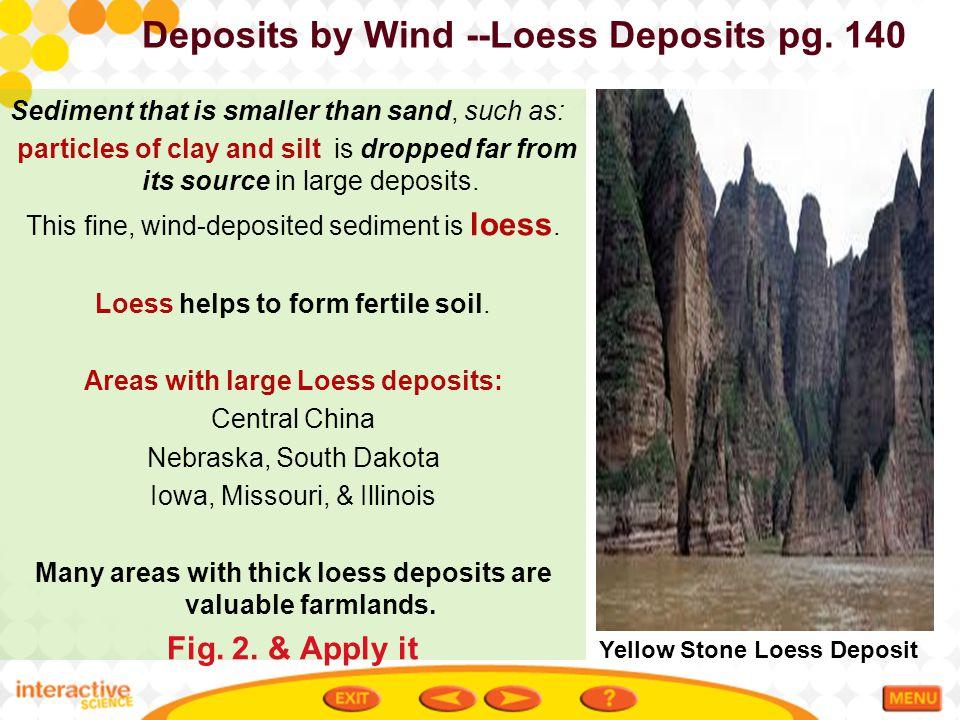 Deposits by Wind --Loess Deposits pg. 140