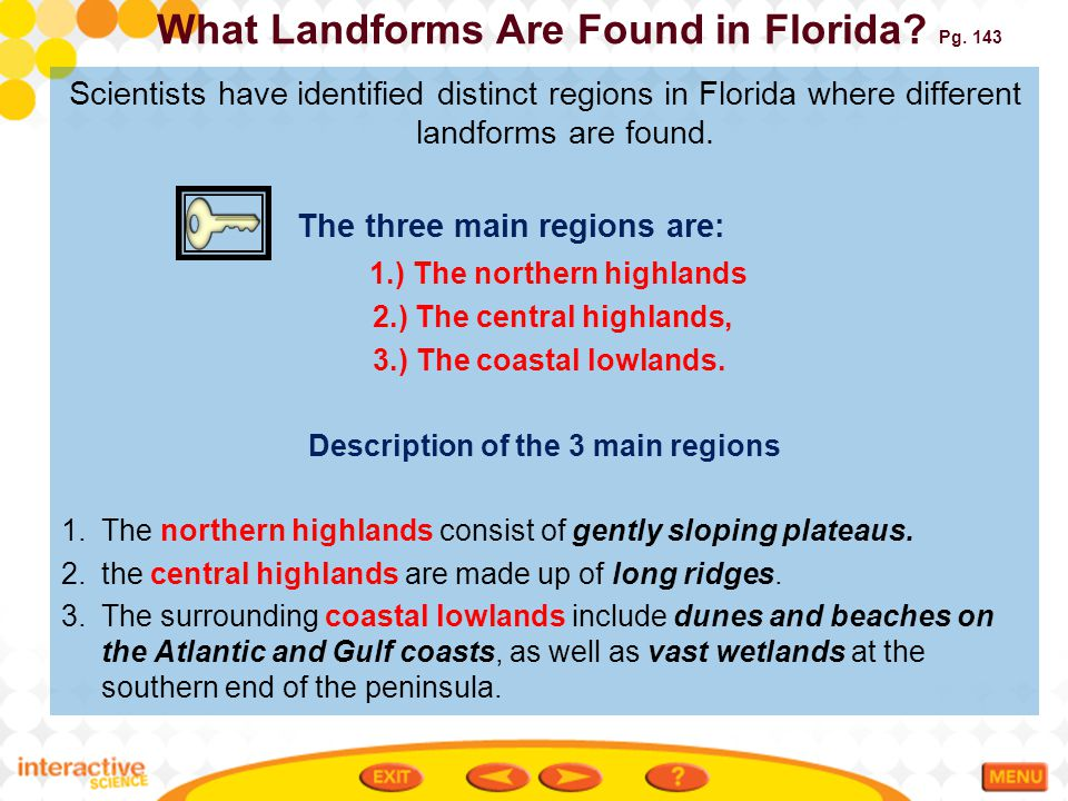 What Landforms Are Found in Florida Pg. 143