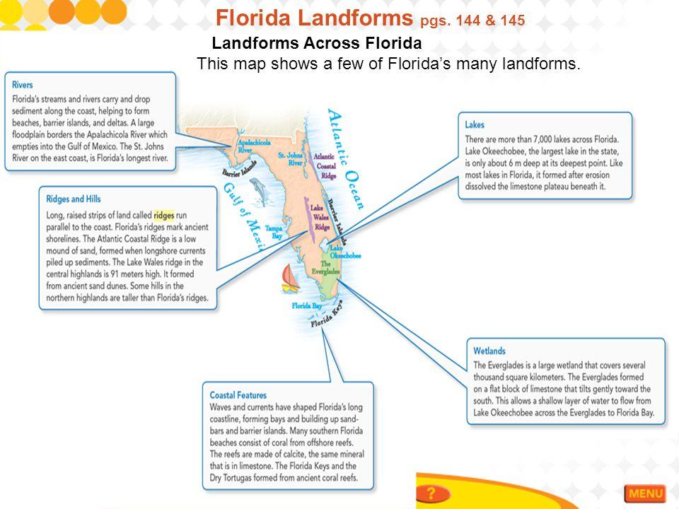 Florida Landforms pgs. 144 & 145 Landforms Across Florida