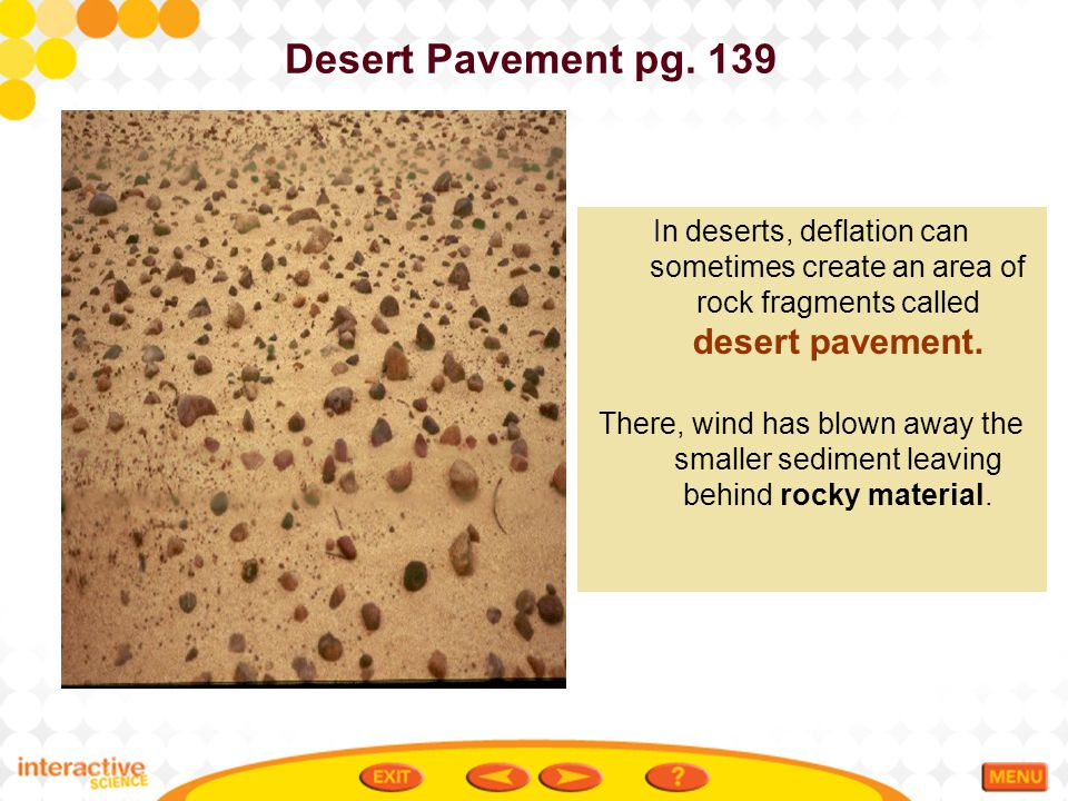 Desert Pavement pg. 139 In deserts, deflation can sometimes create an area of rock fragments called desert pavement.