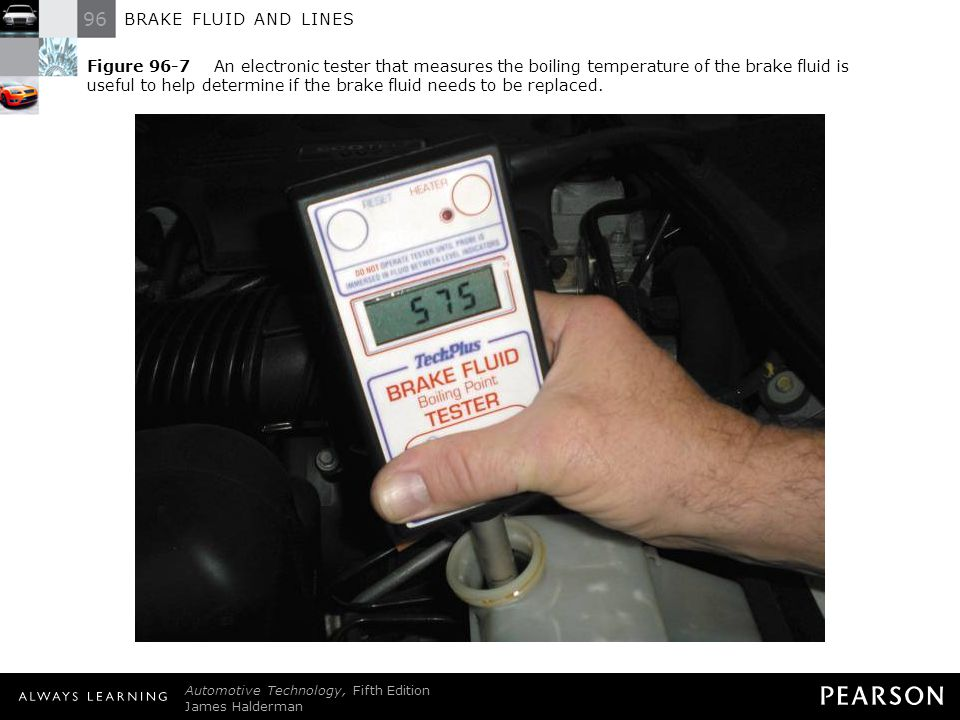 Figure 96-7 An electronic tester that measures the boiling temperature of the brake fluid is useful to help determine if the brake fluid needs to be replaced.