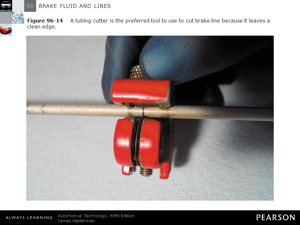 Figure 96-14 A tubing cutter is the preferred tool to use to cut brake line because it leaves a clean edge.
