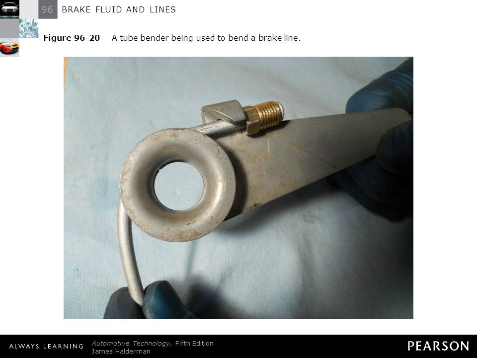 Figure 96-20 A tube bender being used to bend a brake line.