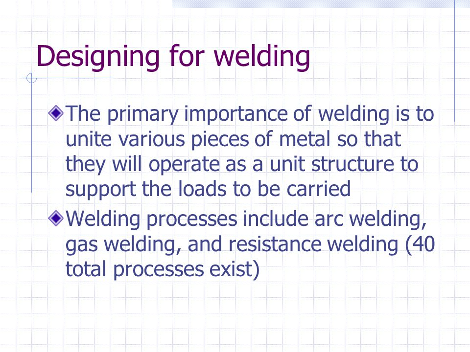 Designing for welding