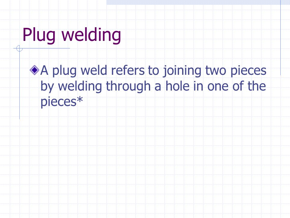 Plug welding A plug weld refers to joining two pieces by welding through a hole in one of the pieces*