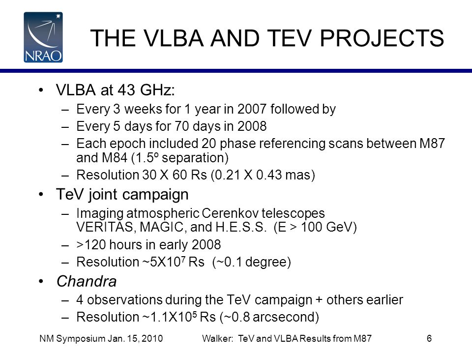 THE VLBA AND TEV PROJECTS