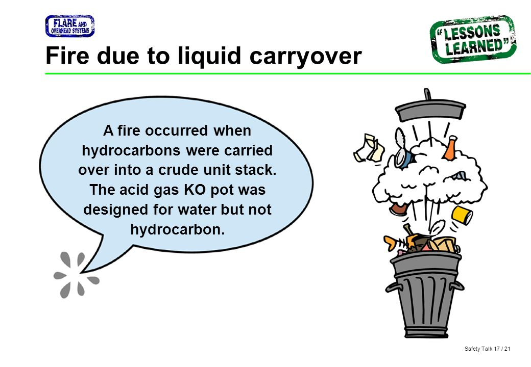Fire due to liquid carryover