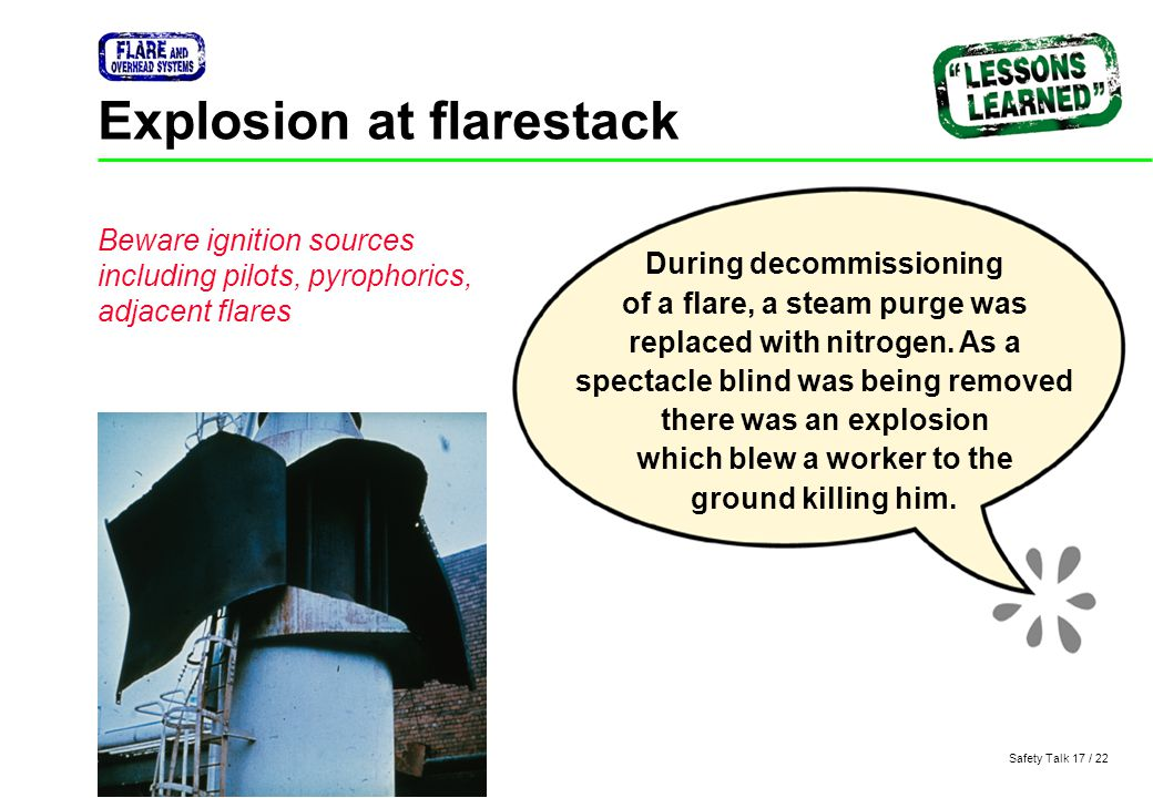 Explosion at flarestack