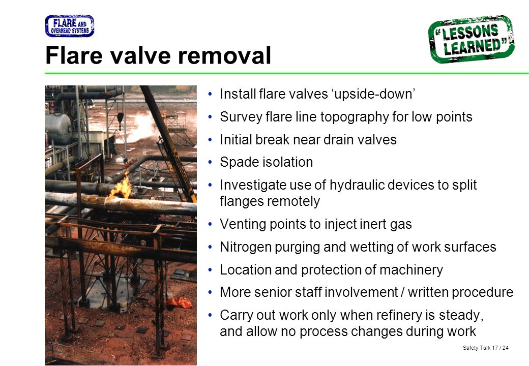 Flare valve removal Install flare valves 'upside-down'