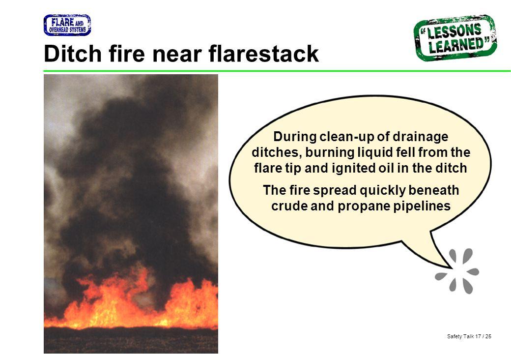 Ditch fire near flarestack