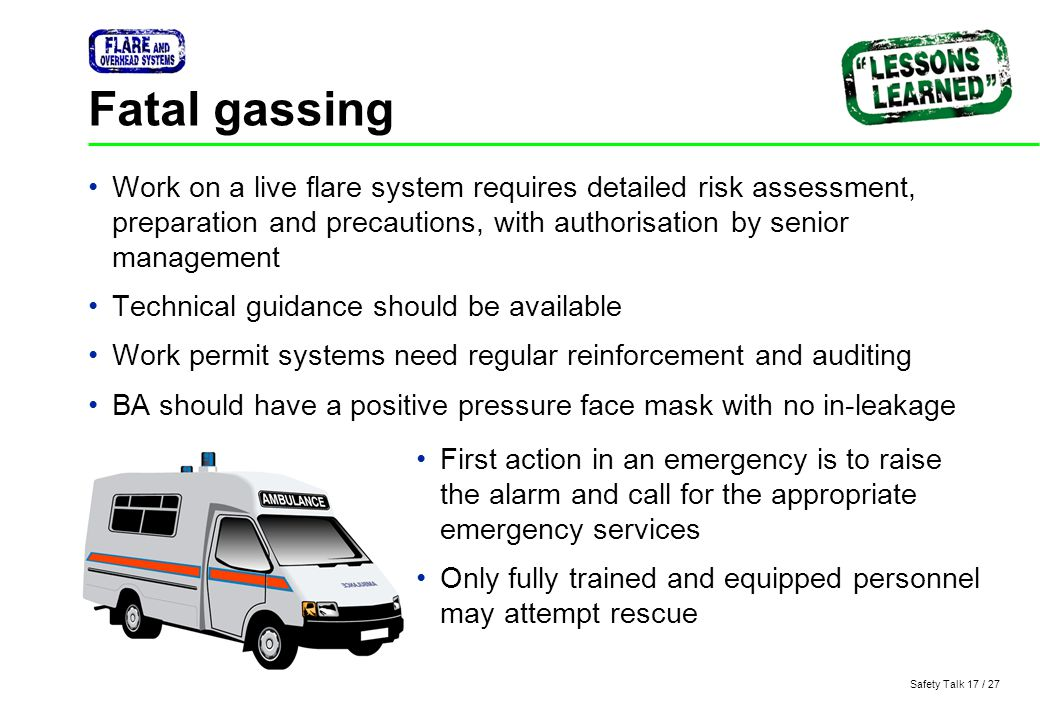 Fatal gassing Work on a live flare system requires detailed risk assessment, preparation and precautions, with authorisation by senior management.