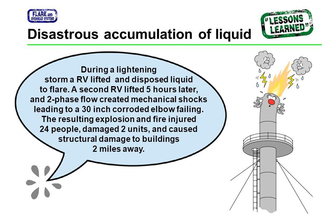 Disastrous accumulation of liquid