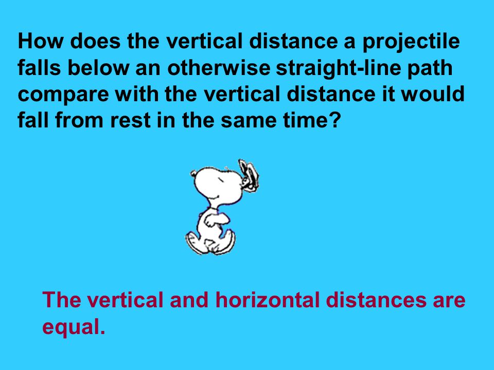 How does the vertical distance a projectile
