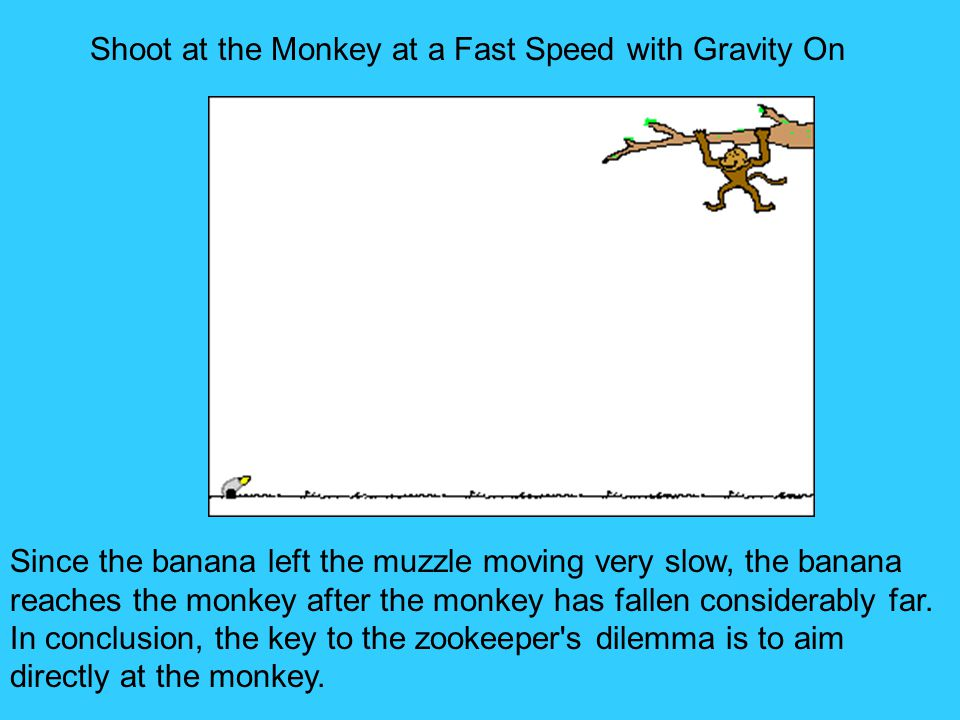Shoot at the Monkey at a Fast Speed with Gravity On