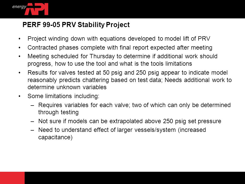 PERF 99-05 PRV Stability Project