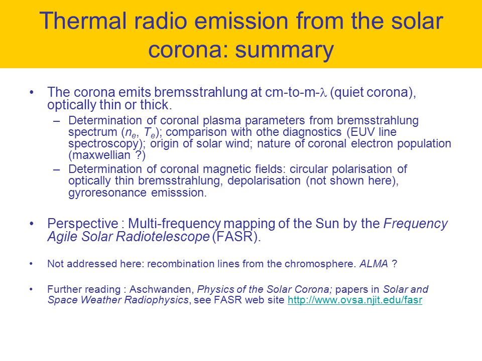 Thermal radio emission from the solar corona: summary