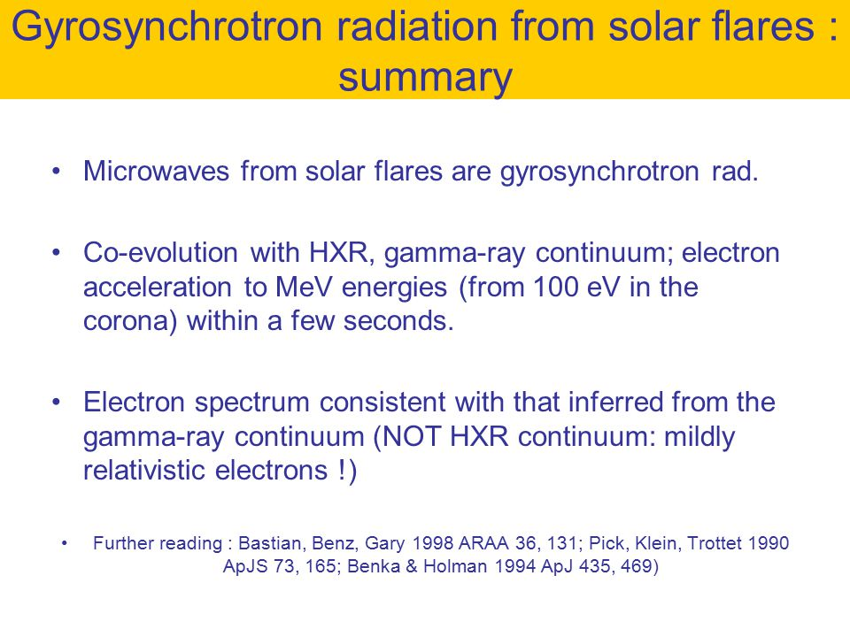 Gyrosynchrotron radiation from solar flares : summary