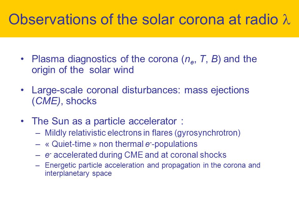 Observations of the solar corona at radio 