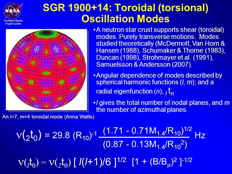 SGR 1900+14: Toroidal (torsional) Oscillation Modes