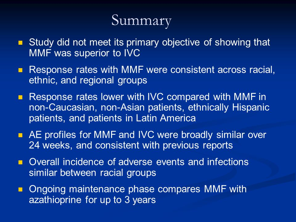 Summary Study did not meet its primary objective of showing that MMF was superior to IVC.
