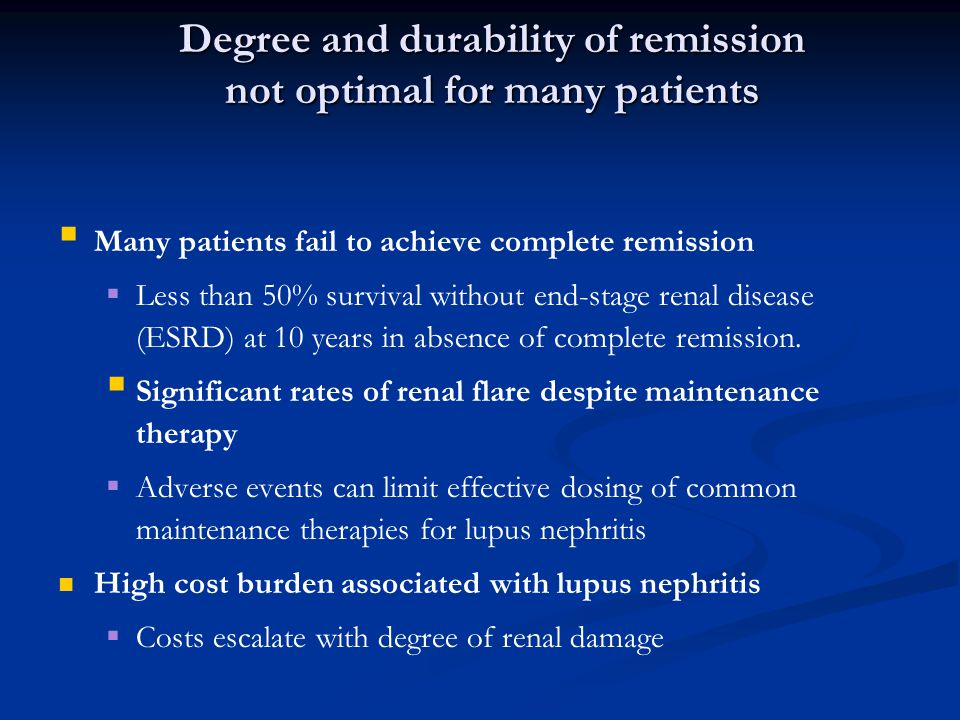 Degree and durability of remission not optimal for many patients