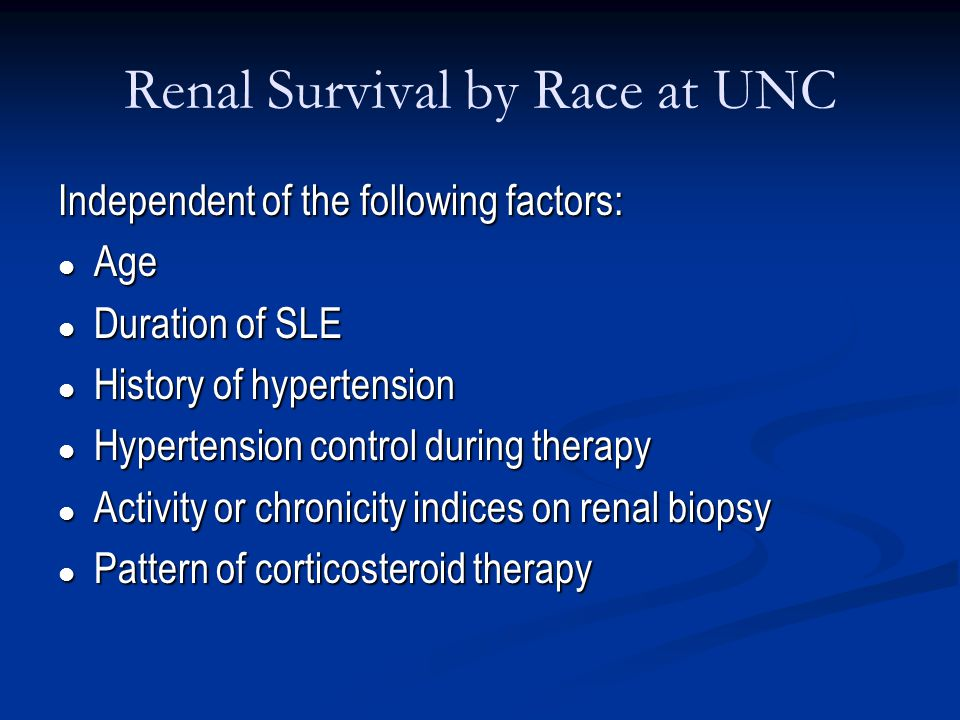 Renal Survival by Race at UNC