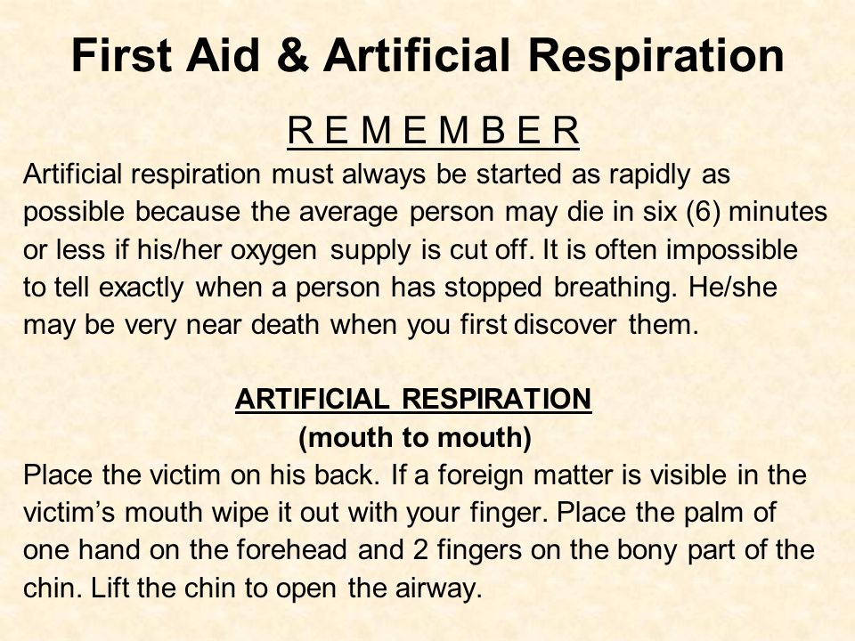 First Aid & Artificial Respiration