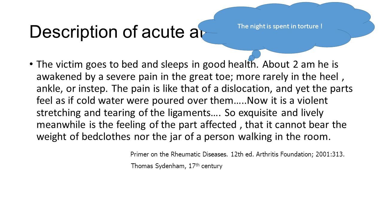 Description of acute attack: