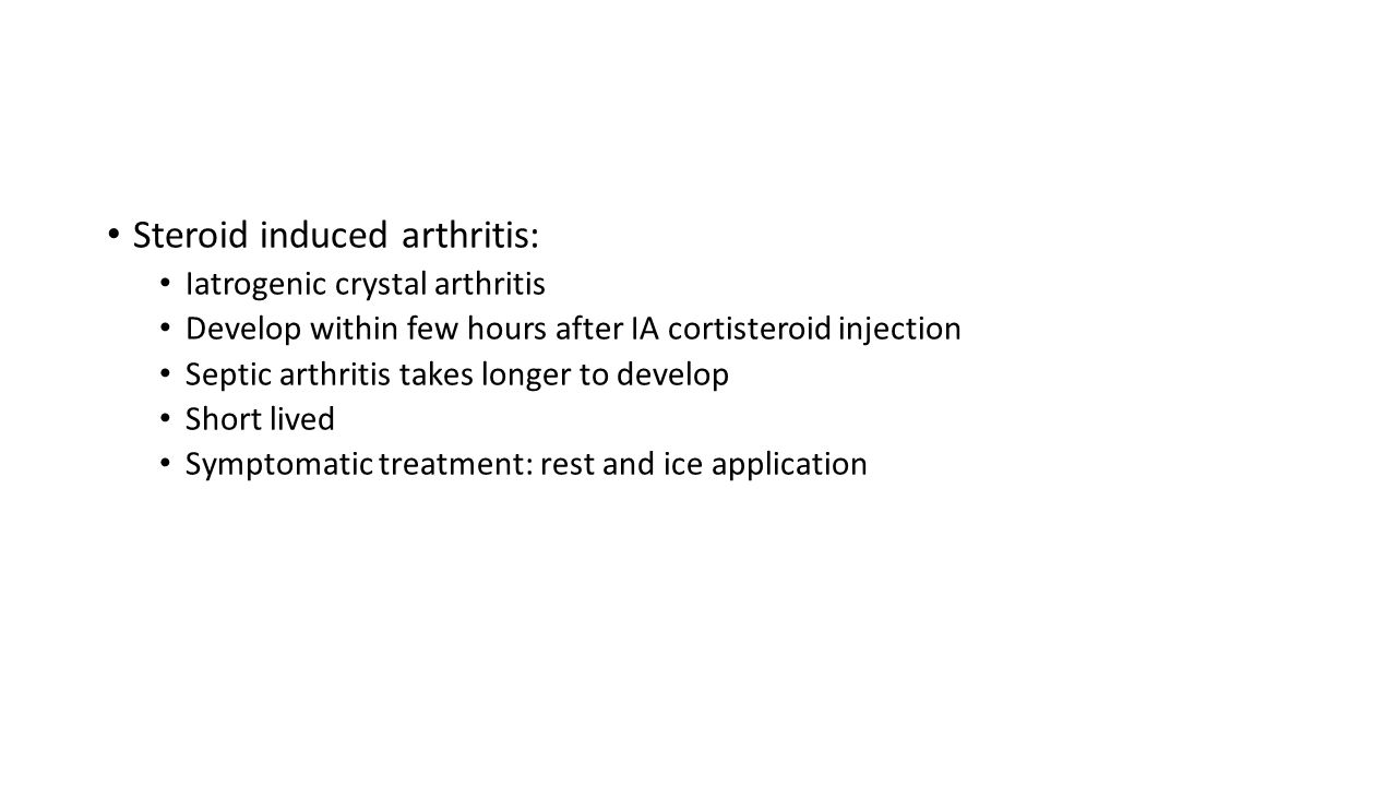 Steroid induced arthritis: