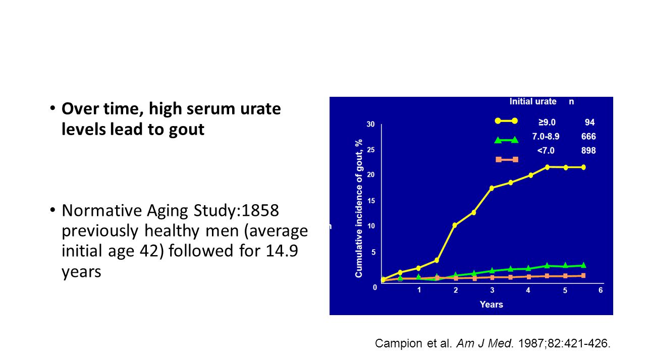 Over time, high serum urate levels lead to gout