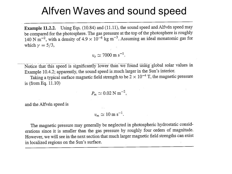Alfven Waves and sound speed
