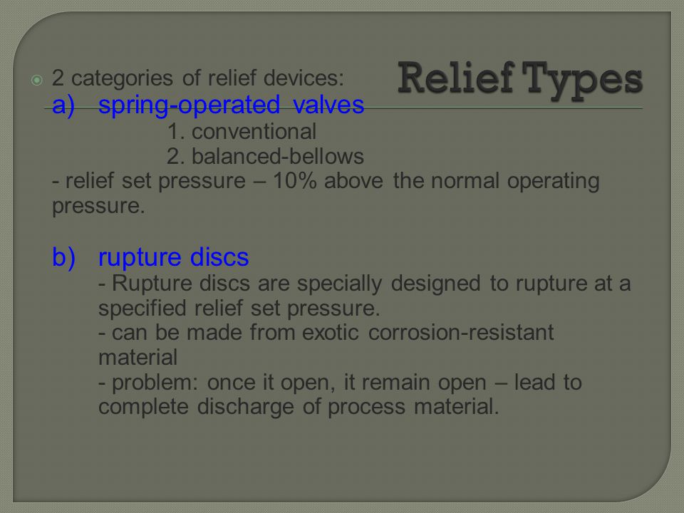 Relief Types 2 categories of relief devices: a) spring-operated valves