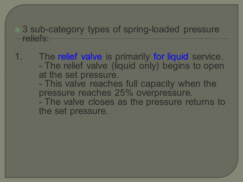 3 sub-category types of spring-loaded pressure reliefs: