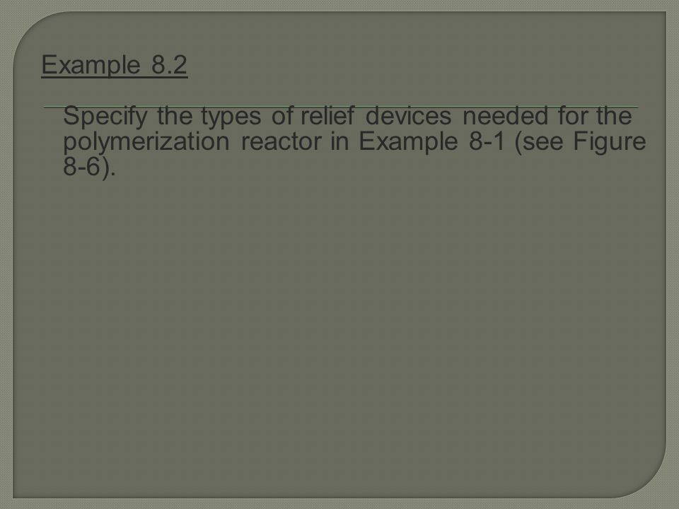 Example 8.2 Specify the types of relief devices needed for the polymerization reactor in Example 8-1 (see Figure 8-6).