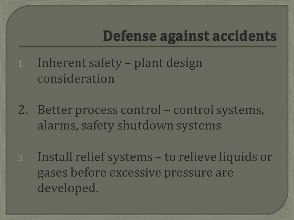 Defense against accidents