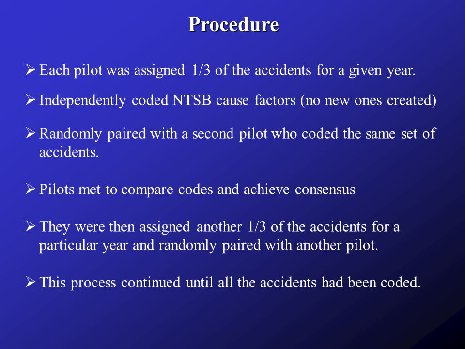 Procedure Each pilot was assigned 1/3 of the accidents for a given year. Independently coded NTSB cause factors (no new ones created)