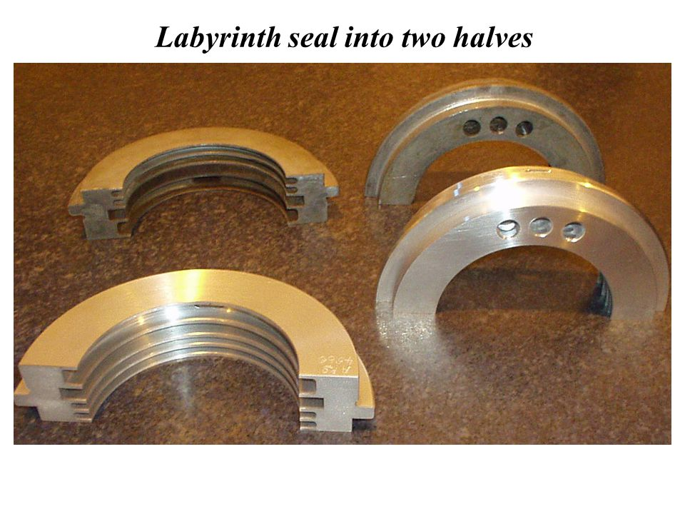 Labyrinth seal into two halves