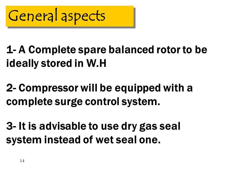 General aspects 1- A Complete spare balanced rotor to be ideally stored in W.H.