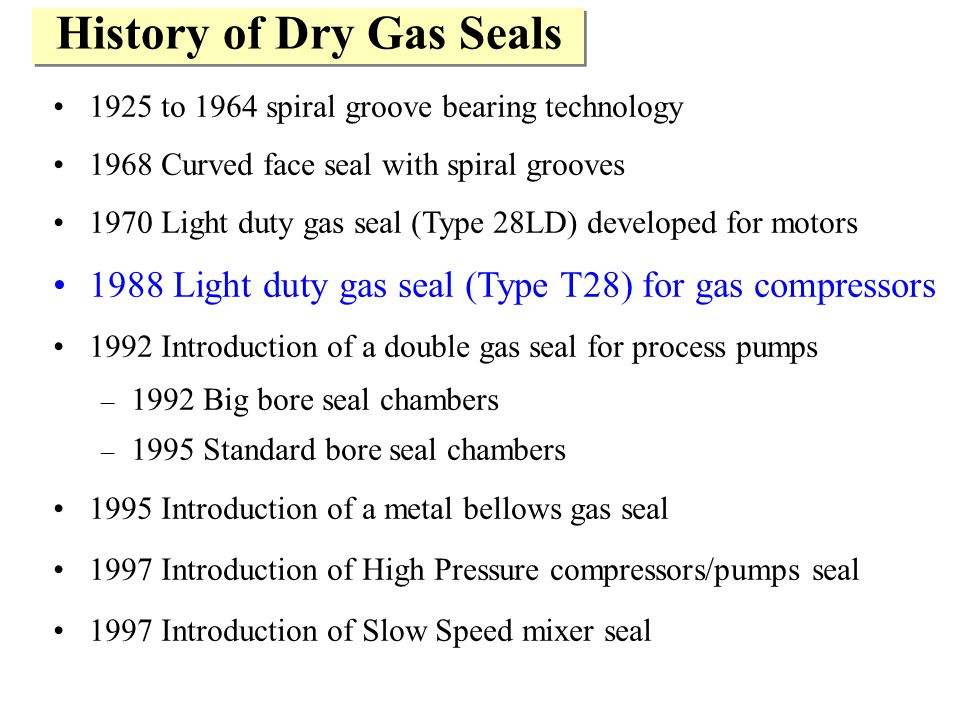 History of Dry Gas Seals