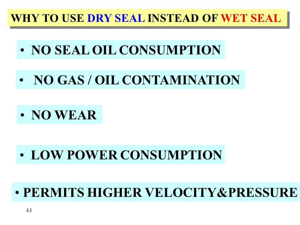 NO SEAL OIL CONSUMPTION