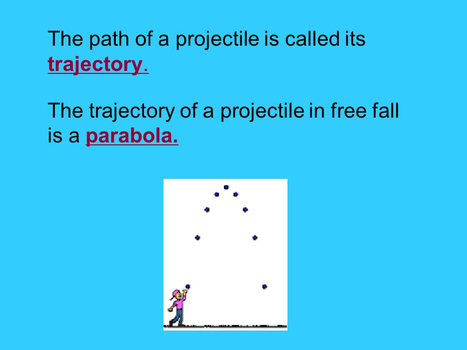 The path of a projectile is called its trajectory.