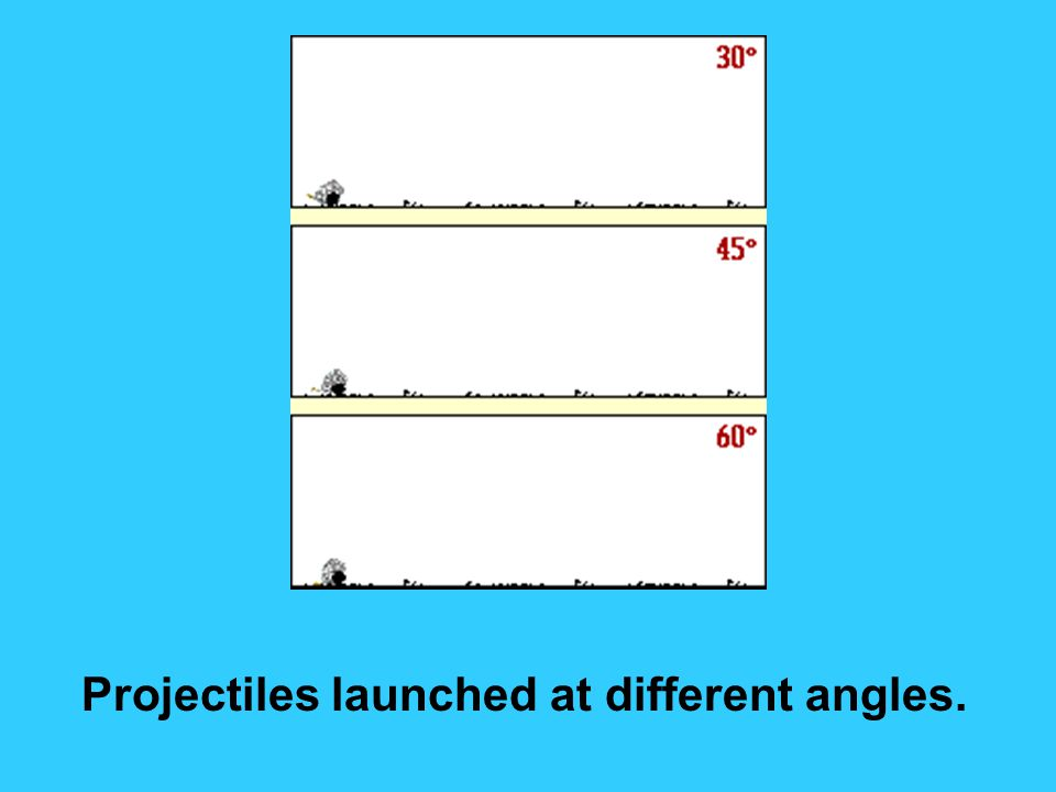 Projectiles launched at different angles.