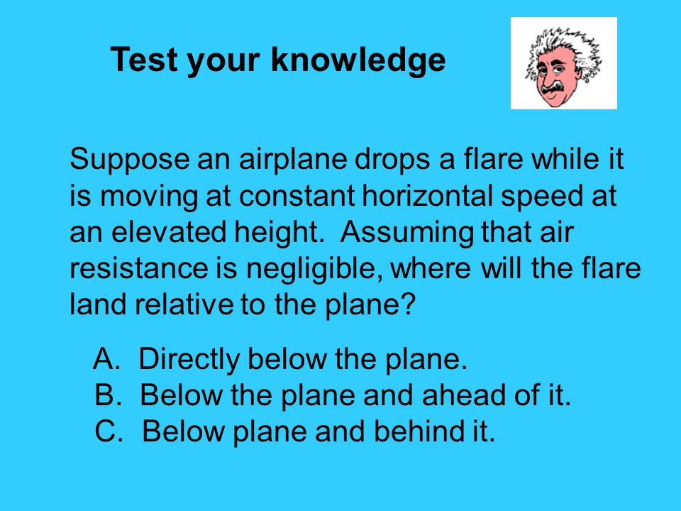 Test your knowledge Suppose an airplane drops a flare while it