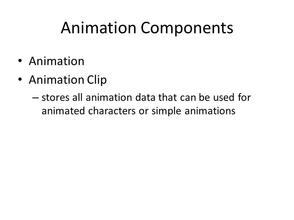 Animation Components Animation Animation Clip